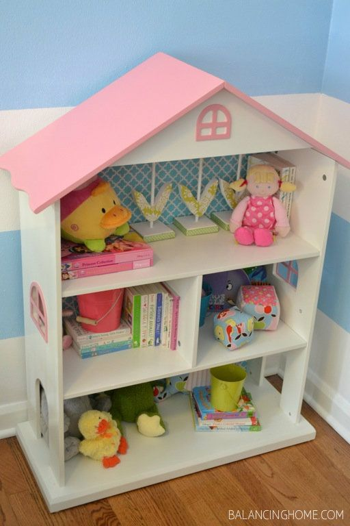 Dollhouse Bookshelf - I love the wall paper on the back