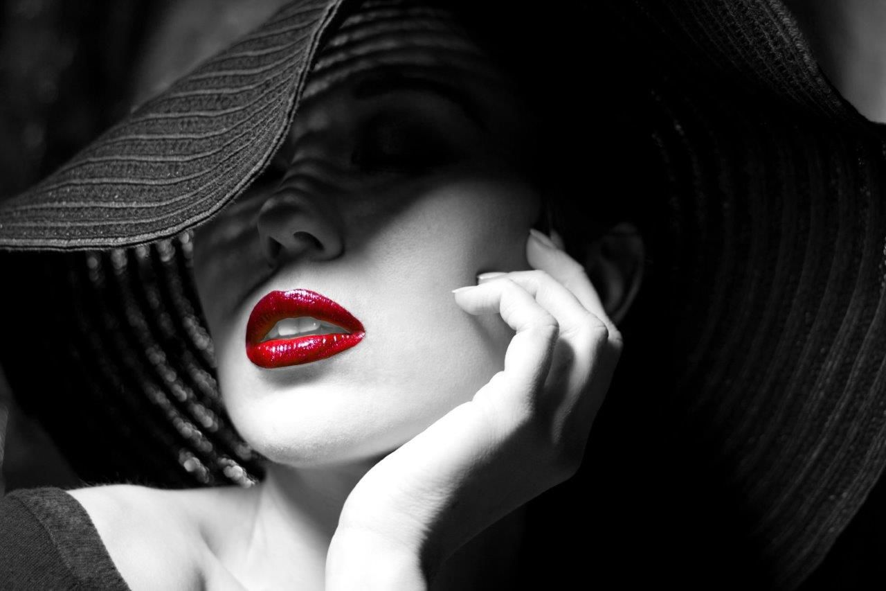 Portrait Photography Black And White Woman With Red Lips