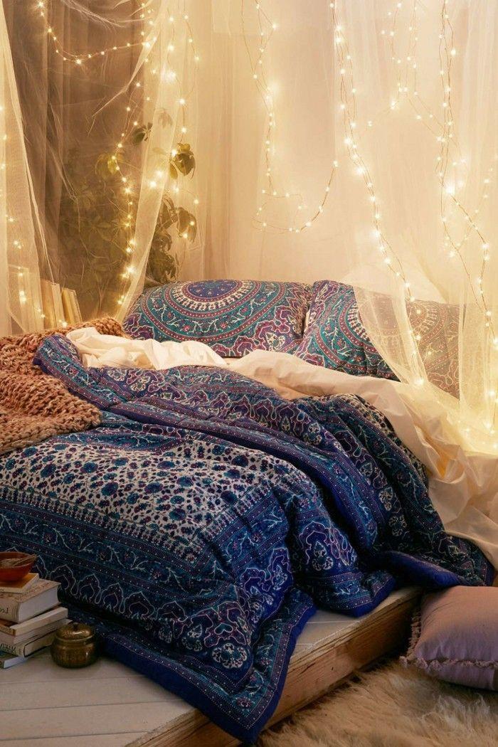 wohnungsdekoration schlafzimmer dkeorieren lichterketten