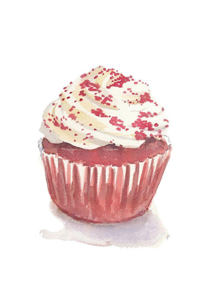 Cupcake Watercolor Food Art Original Painting by ...