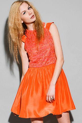 Blak Orange Lace Silk Dress, available at Pixie Market.