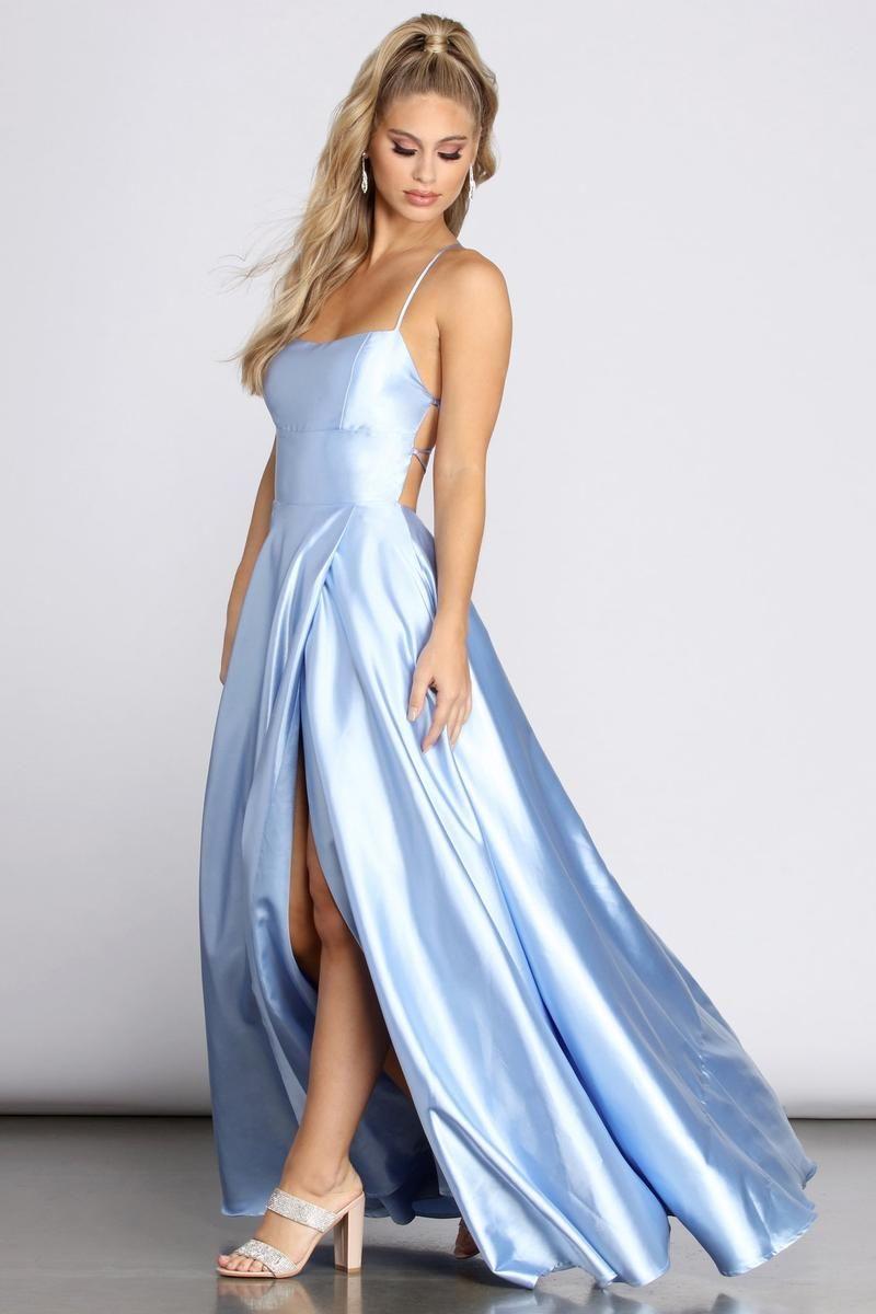 Anne Formal Lattice Satin Dress In 2020 Satin Dresses Dresses Light Blue Prom Dress [ 1200 x 800 Pixel ]