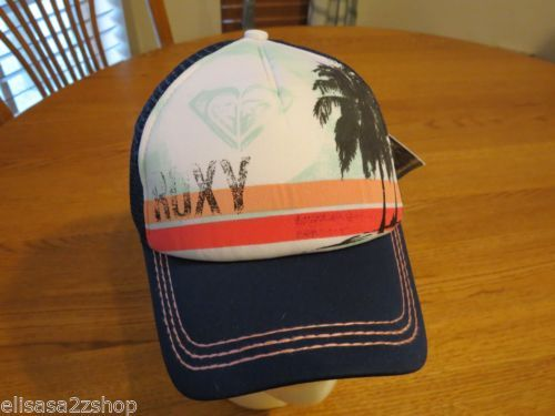 Women s Juniors girls Roxy Hat cap ocean palms blue mesh back trucker NEW  California Girl Style e06aae28c1