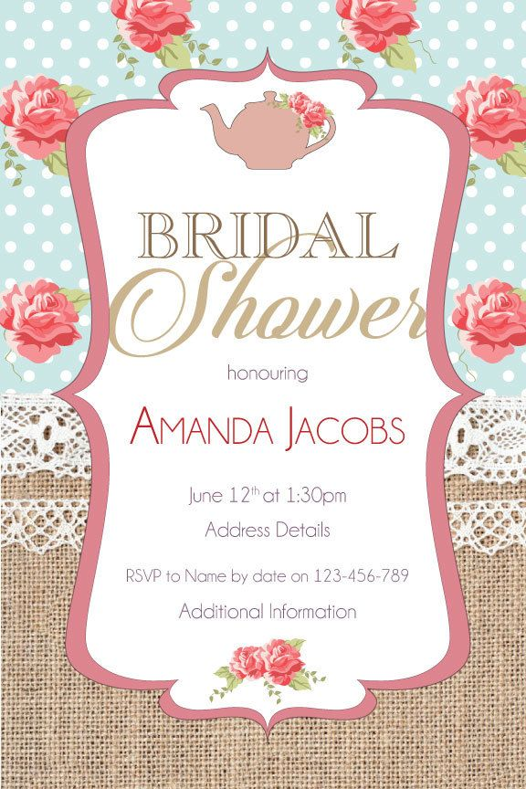 Burlap Rose Bridal Shower Digital Printable Invitation Template - Bridal tea party invitation template
