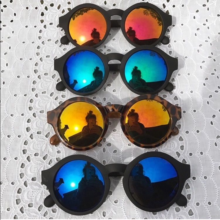 Nwt Mallory Round Keyhole Hippie Mirror Sunglasses