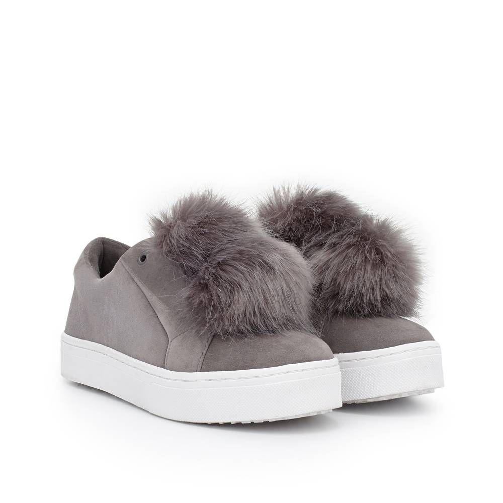 922a0e578e0fb Sam Edelman  Leya  Faux Fur Laceless Sneaker Fall has a new favorite sneaker.  Adorned with a plush faux fur attachment and supple suede in Gray