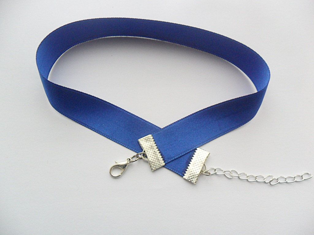New to absolutemarket on Etsy Satin choker necklace blue
