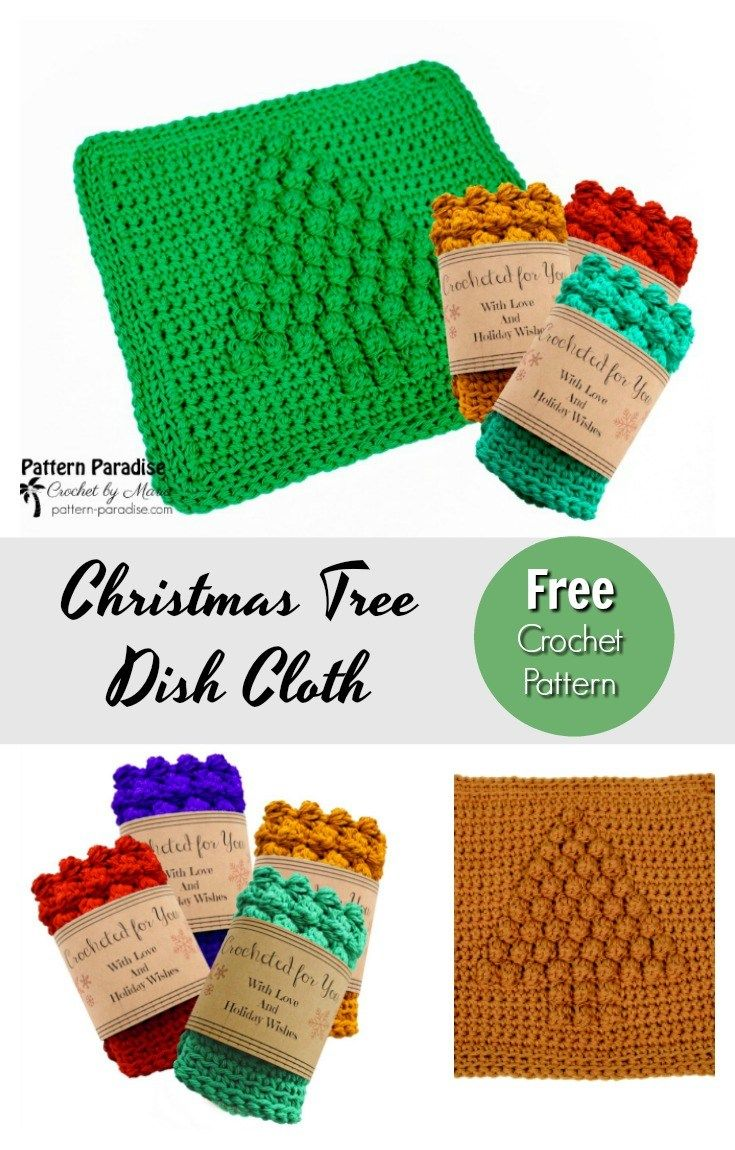 Free Crochet Pattern: Christmas Tree Dish Cloth | Free crochet ...