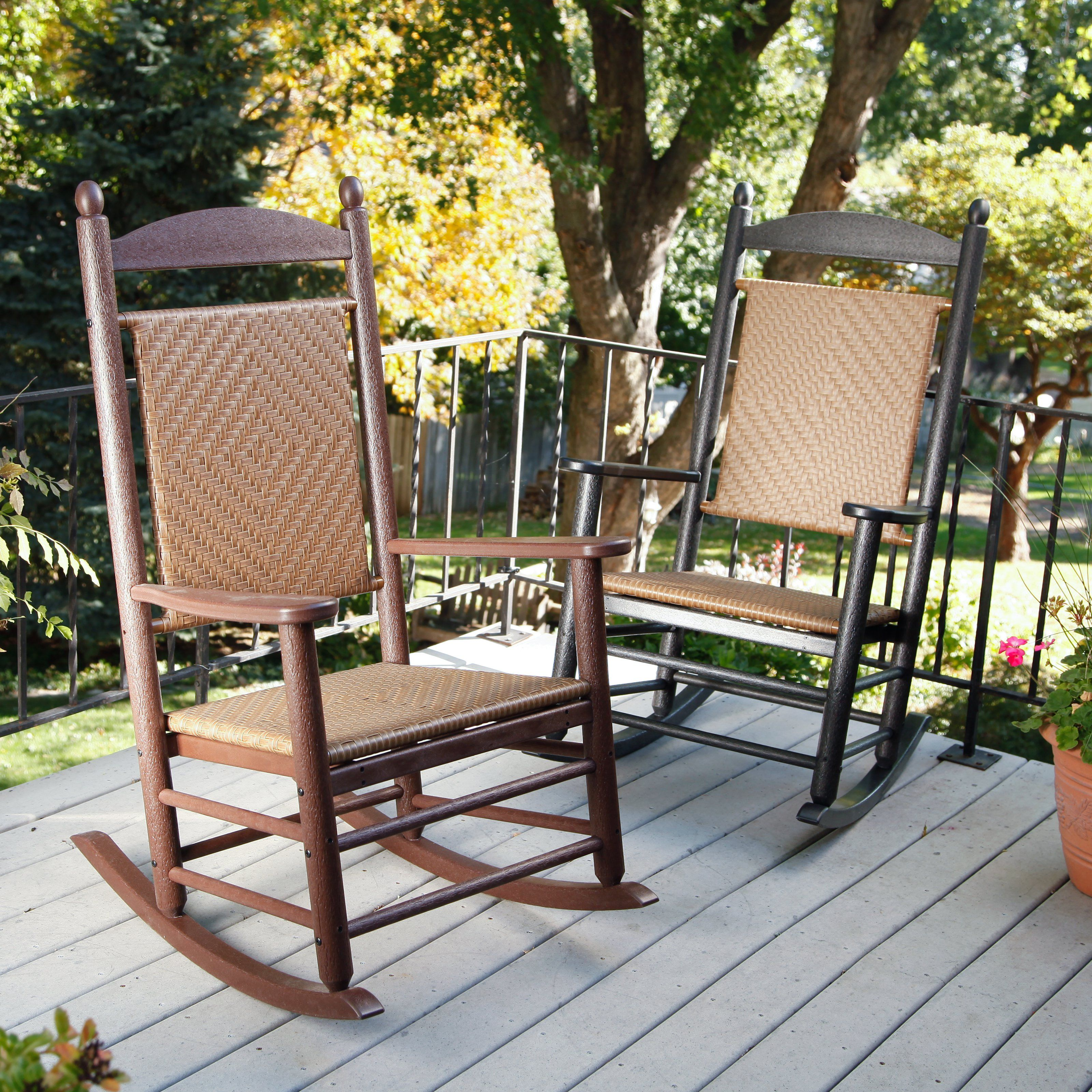 POLYWOOD® Recycled Plastic Jefferson Rocking Chair With Woven Seat And Back  | From Hayneedle.com