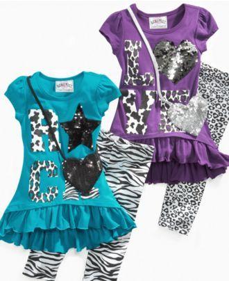 44119ab7e8ebc Beautees Kids Set, Little Girls Animal Print Tunic and Pants - Kids - Macy's