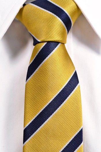 Siden Smal slips - Gul bas med ränder i marinblått och vitt