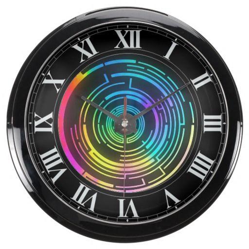 Colorful Round Rainbow Maze Aqua Clock