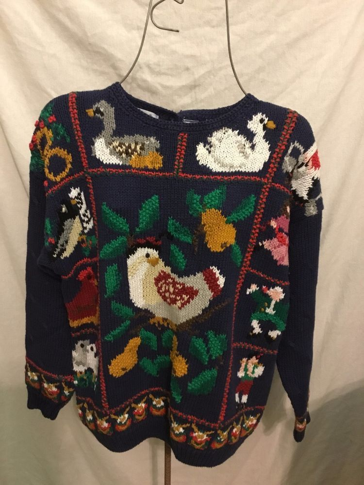 Northern Isles Hand Knit Navy Christmas Sweater Twelve 12 Days Of