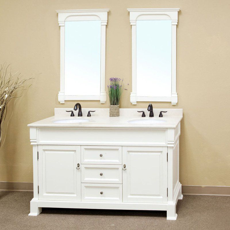 Have To It Bellaterra Calabria 60 In Antique White Double Bathroom Vanity With Optional Mirrors 1798 Hayneedle