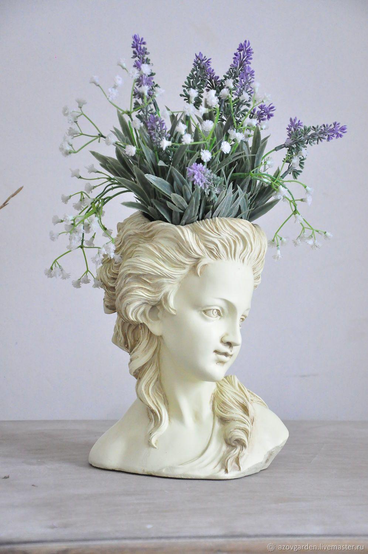 Photo of Bust of girl pots of concrete Josephine for home and garden – заказать на Ярмарке Мастеров – HM8F9COM | Статуэтки, Azov