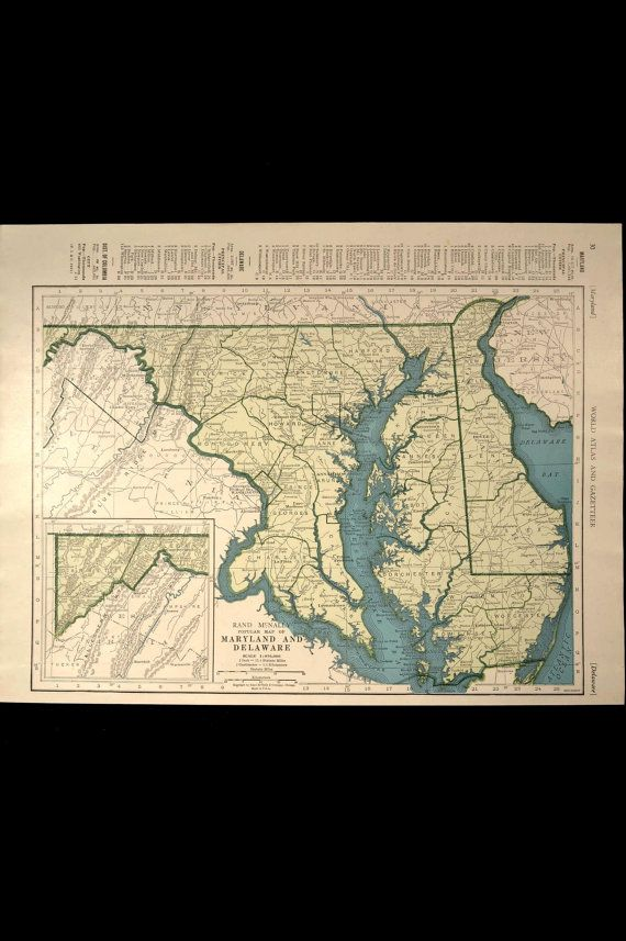 Vintage Map Maryland Delaware State 1940s Original 1945 Wall Decor ...