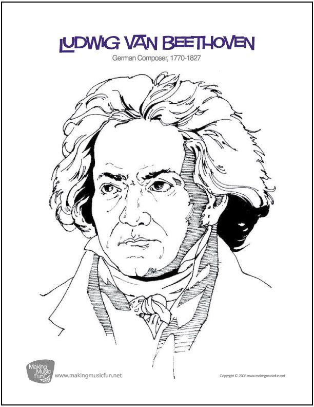 Ludwig Van Beethoven Free Composer Coloring Page Digital Print
