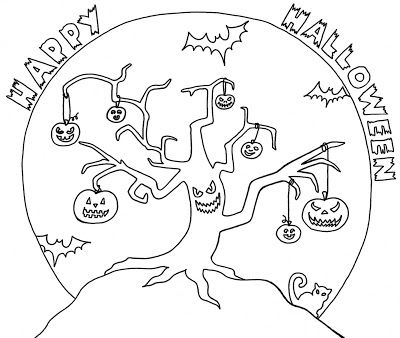 Wenchkin S Coloring Pages Halloween Tree Fall Coloring Pages