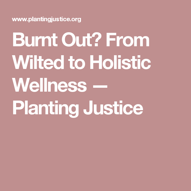 Burnt Out? From Wilted to Holistic Wellness — Planting Justice
