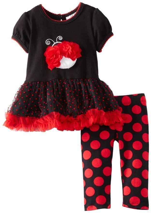 ac2449431a2aa RARE EDITIONS Baby Girls Ladybug Dot Tutu Legging Set Black/Red Size 6 M  Outfit #RareEditions #CasualBirthdayEasterPartyEverydayHoliday