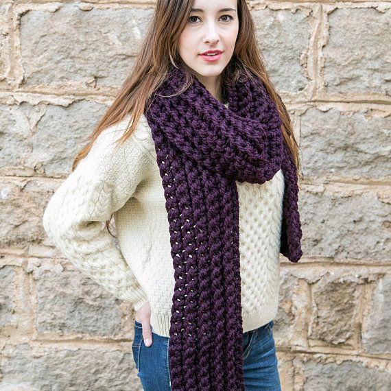 Photo of Purple Knit Scarf, Unisex Scarves, Chunky Knit Scarves, Holiday Gifts, THE CLASSIC SCARF shown in Eggplant