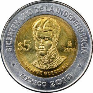 Moneda De 5 Pesos Conmemorativa Bicentenario De La Independencia Vicente Guerrero 2010 Monedas Monedas Coleccionables Coleccionar Monedas