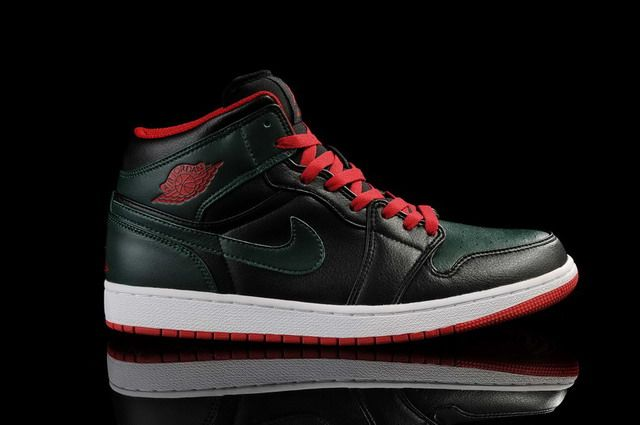 Nike Air Jordans- Air Jordan 1 Black/Army Green-Red Shoes