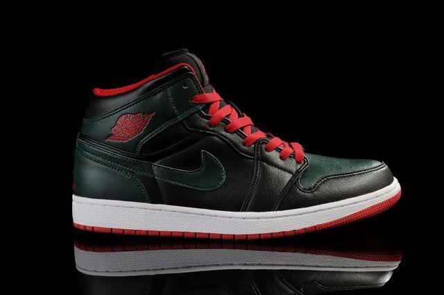 Nike Air Jordans- Air Jordan 1 Black/Army Green-Red Shoes