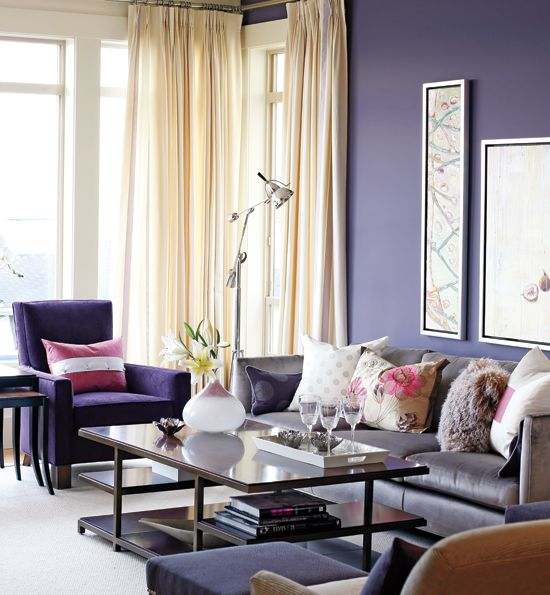 Sarah Richardson S Lottery Home Makeover Style At Home Purple Living Room Purple Home Decor Cozy Living Room Design Purple wall decor living room