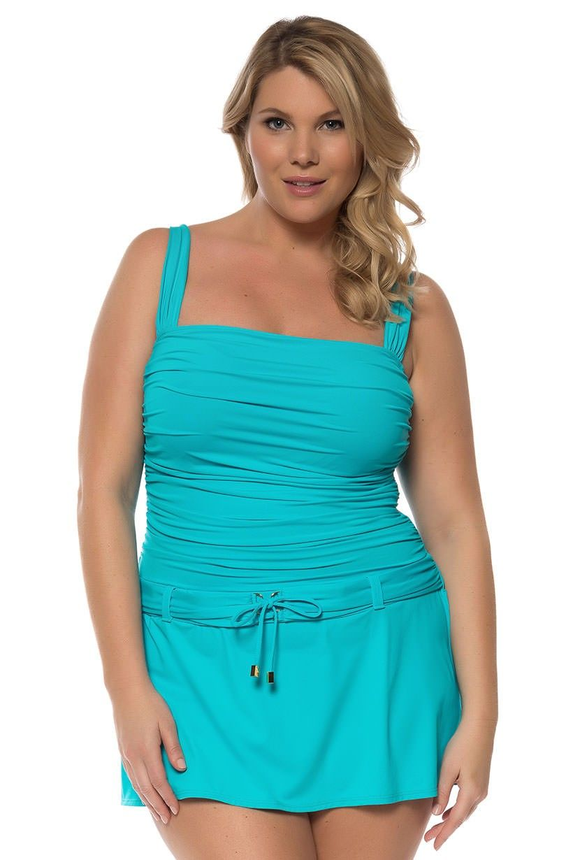 Bleu Underwire Plus Size Swimdress A little on the more serious side for a Sparkling woman, but the color and bow are great!)