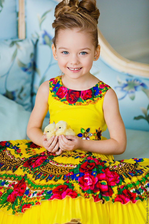 купить платье для девочки в русском стиле цыпленок
