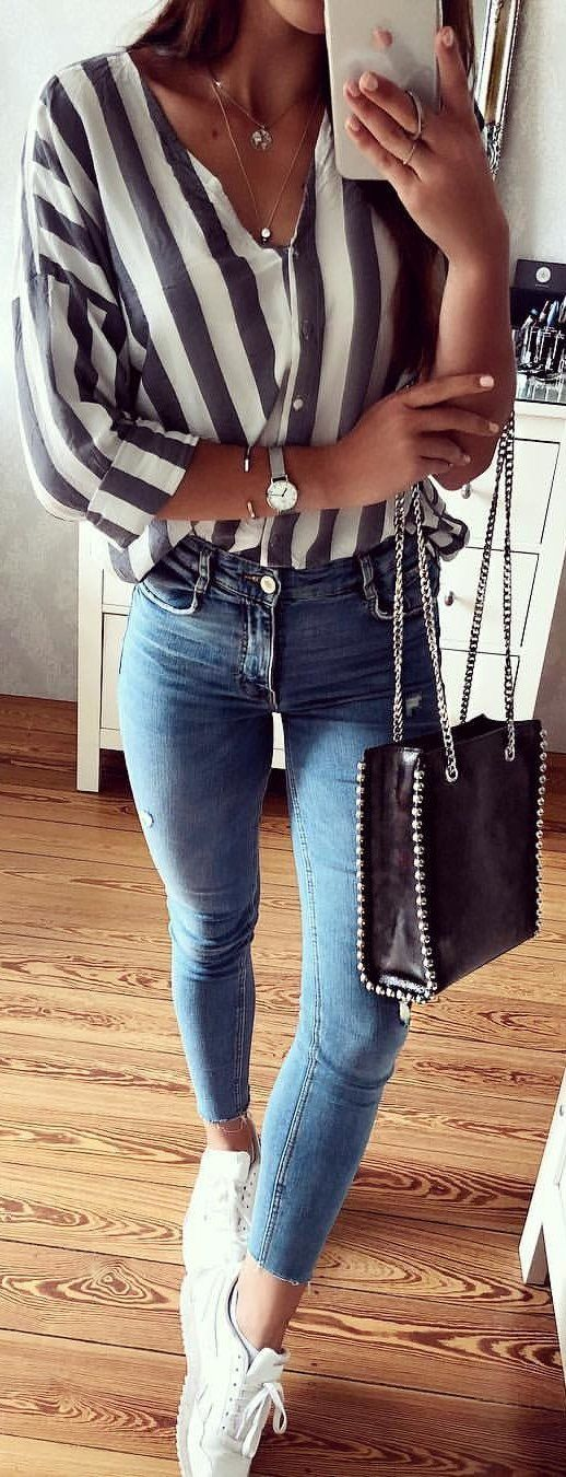#summer #outfits Striped Shirt + Skinny Jeans