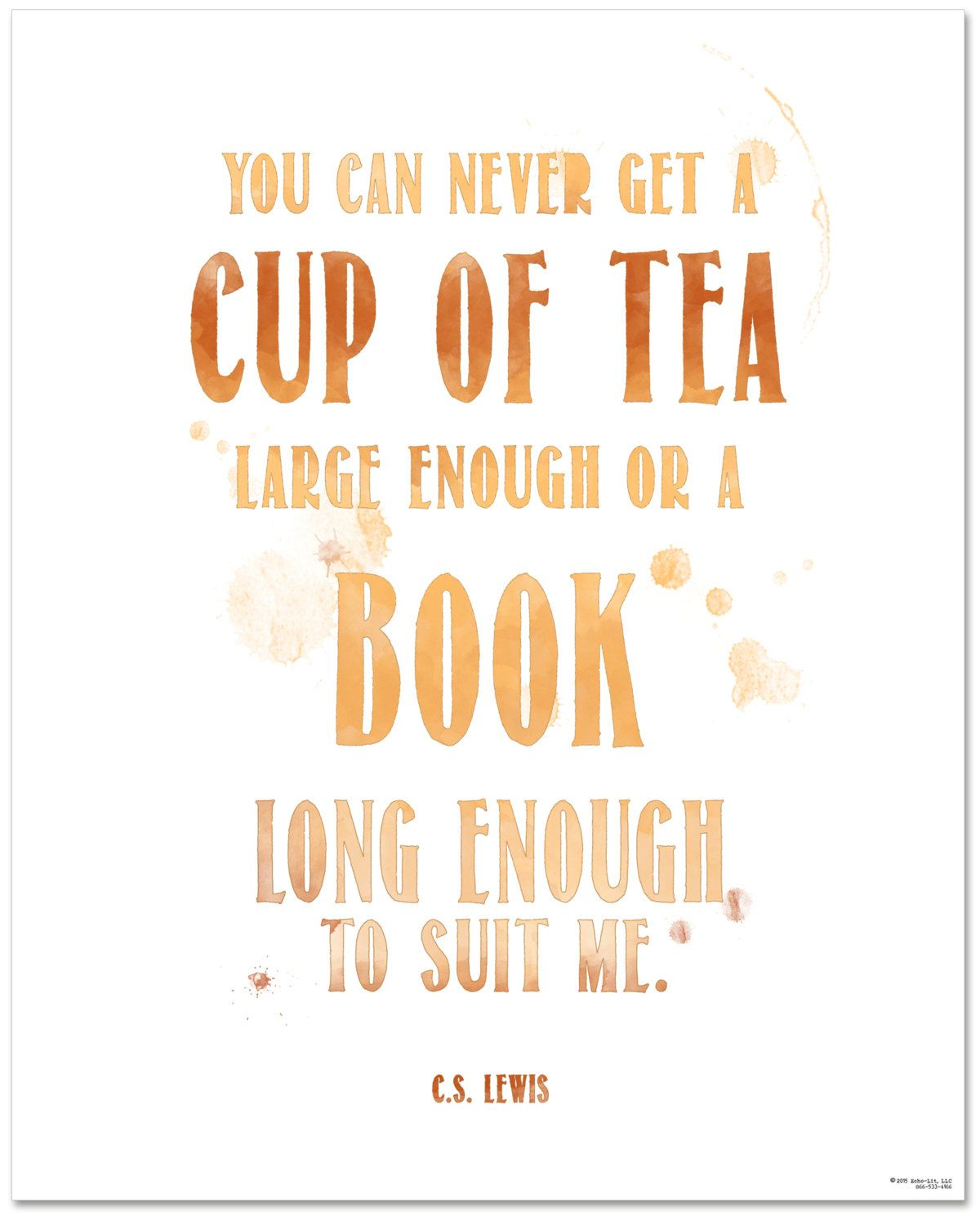 Tea Quote Poster C S Lewis Cup Of Tea Large Enough Book Long