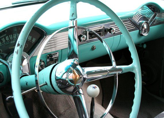 5 x 7 PRINT, classic car steering wheel photo with 8 x 10 mat, car interior, mechanic, motor head