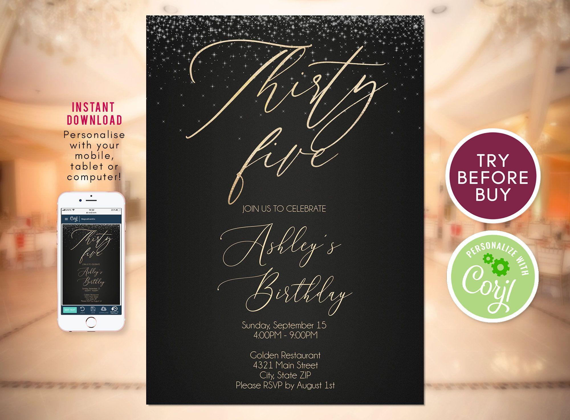 35th birthday invitation template black