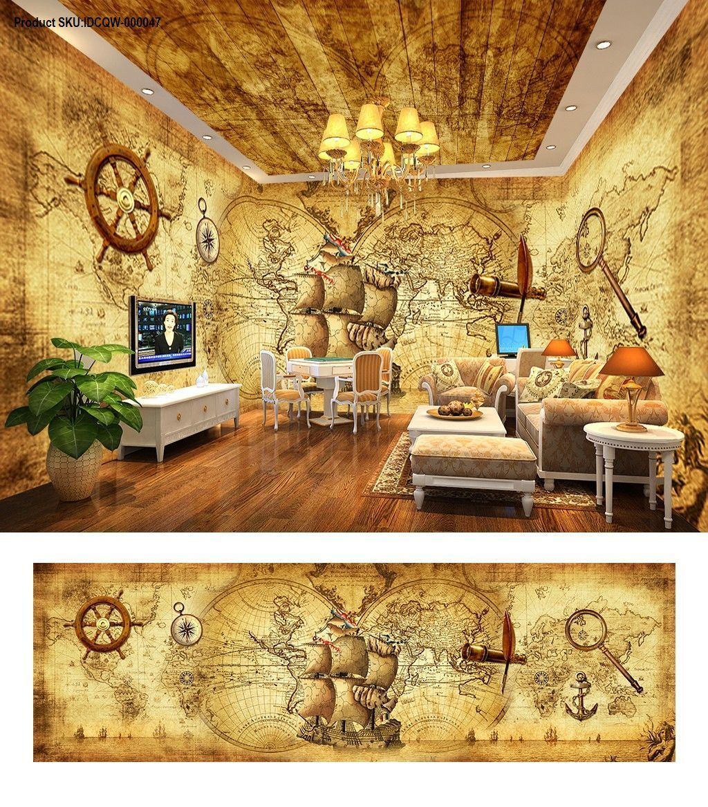 Pirates of the Caribbean retro entire room wallpaper wall mural ...