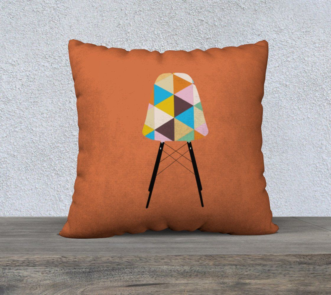 Orange geometric eames chair pillow pillow cover products