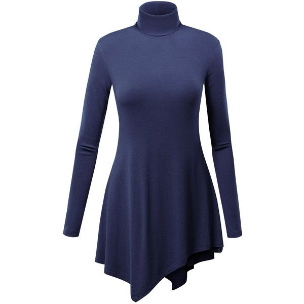 LL Womens Long Sleeve Various Hem Turtleneck Sweater Tunic ($12 ...