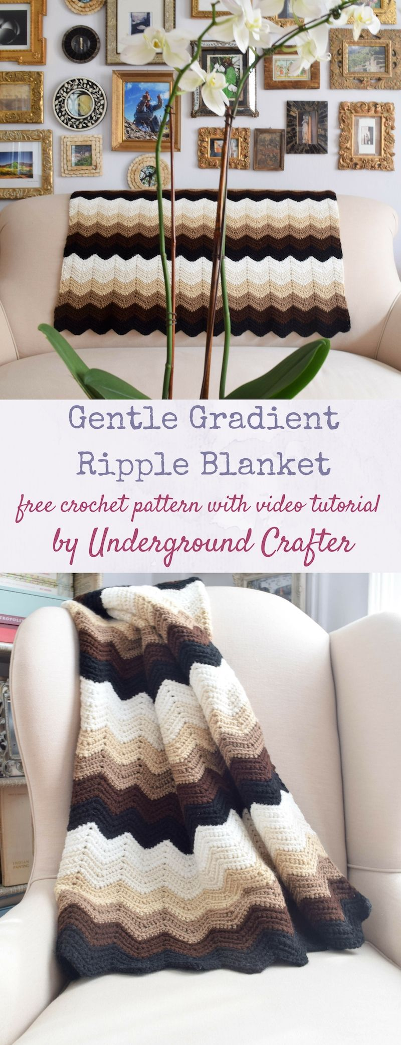 Gentle Gradient Ripple Blanket, free crochet pattern/video | Free ...