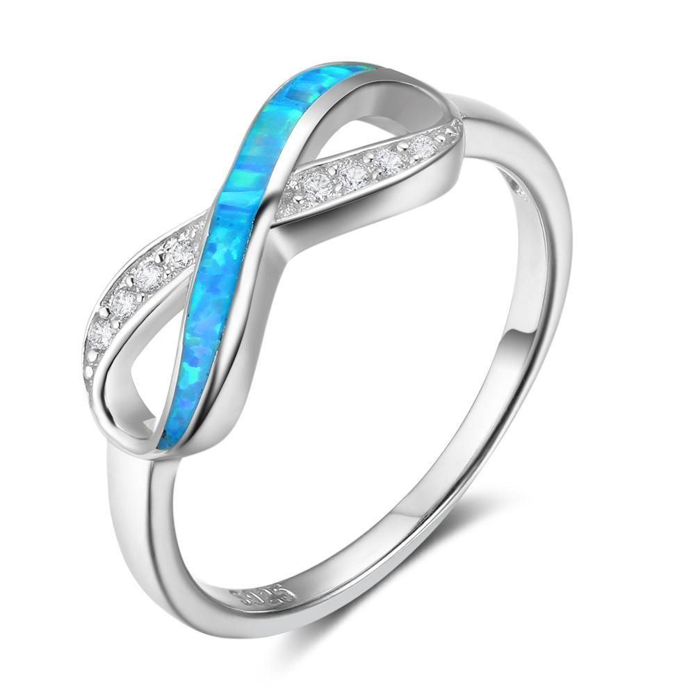 925 Sterling Silver Opal Wedding Engagement Rings, Best Replacement for Travel and Working, Gift Box Pack, 2849
