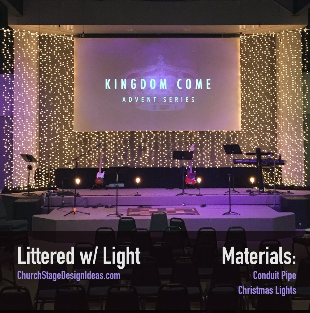 Littered w light stage designs pinterest stage for Backdrop decoration for church