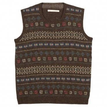 Brown Round Neck Fair Isle Tank Top. Find a pattern and knit one ...