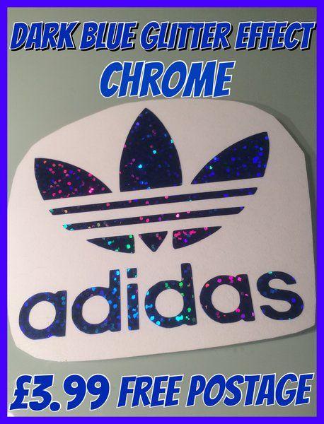NEW !! Glitter effect self adhesive chrome adidas logo decal