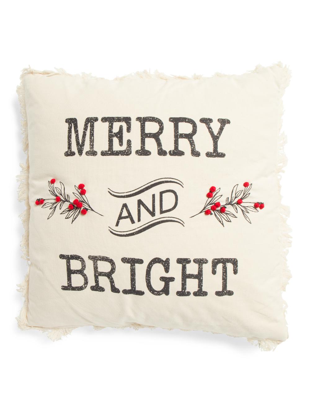 """Mud Pie Home /""""..All a Good Night/"""" Santa/'s Reindeer Christmas Lumbar Throw Pillow"""