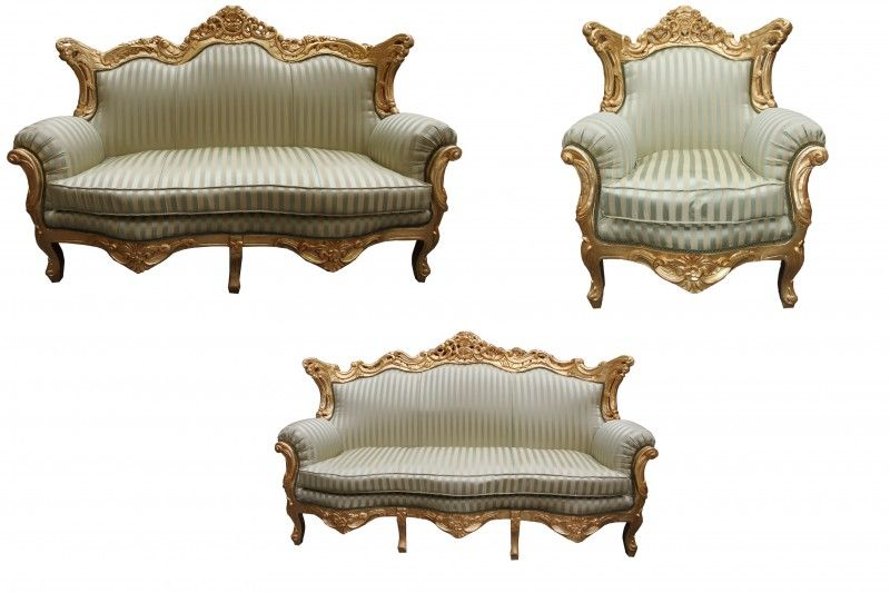 Gold 3er Sofa 2er Sofa 1 Sessel Sofa Sets 2er Sofa
