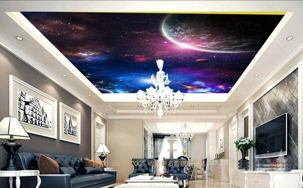 Galaxy Star Moon Ceiling Wall Mural Wall Paper Decal Wall Art Print Decor Ebay Interior