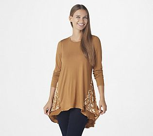 Highlight the satin and velvet burnout pattern on this long-sleeve top by pairing it with leggings and ankle boots. From LOGO by Lori Goldstein®.