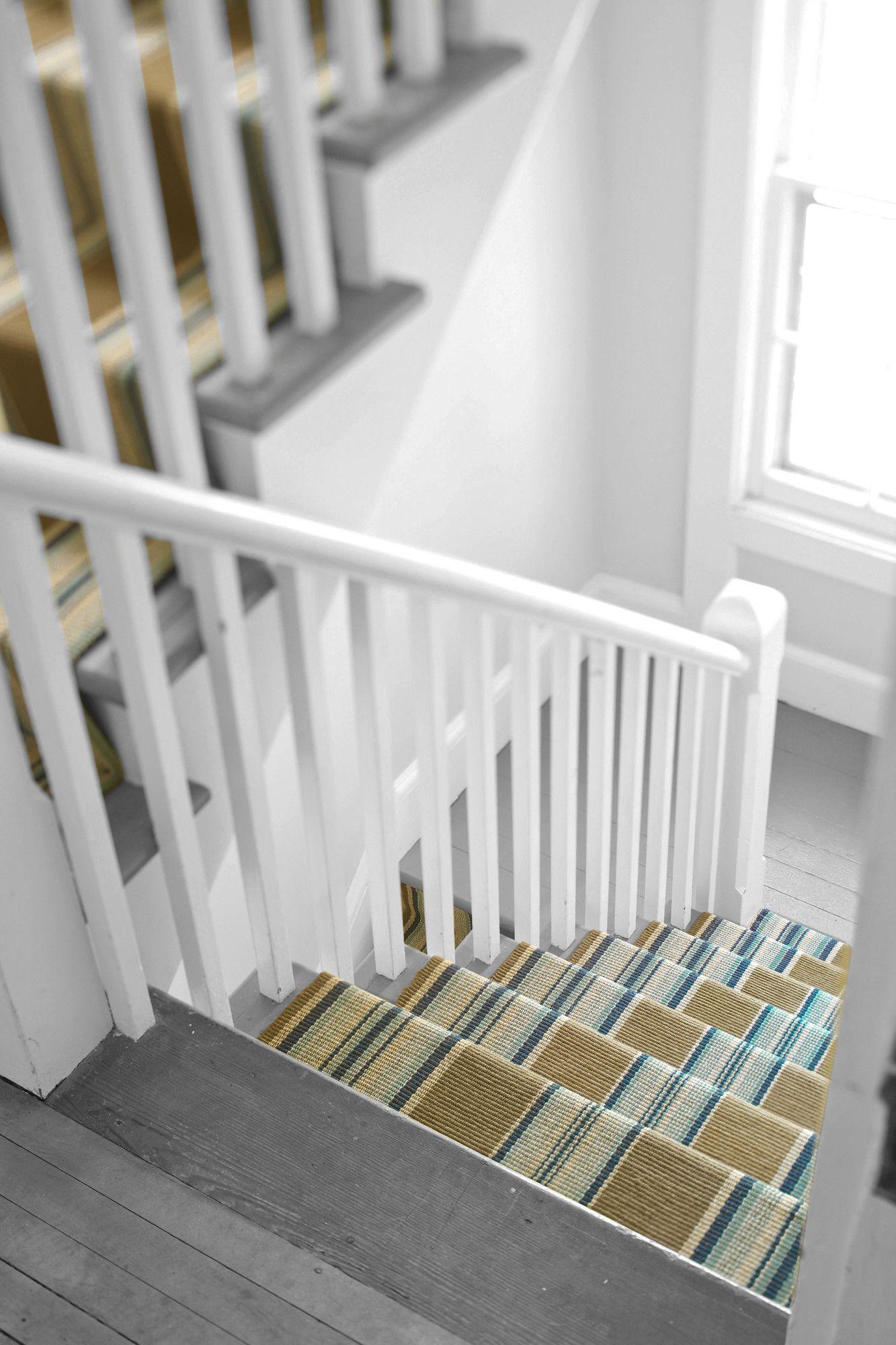 Flat Woven Blue Area Rug Striped Stair Runner Hallway Carpet | Wayfair Carpet Runners For Stairs | Tucker Murphy | Brown Beige | Hallway Carpet | Wool Rug | Wall Carpet