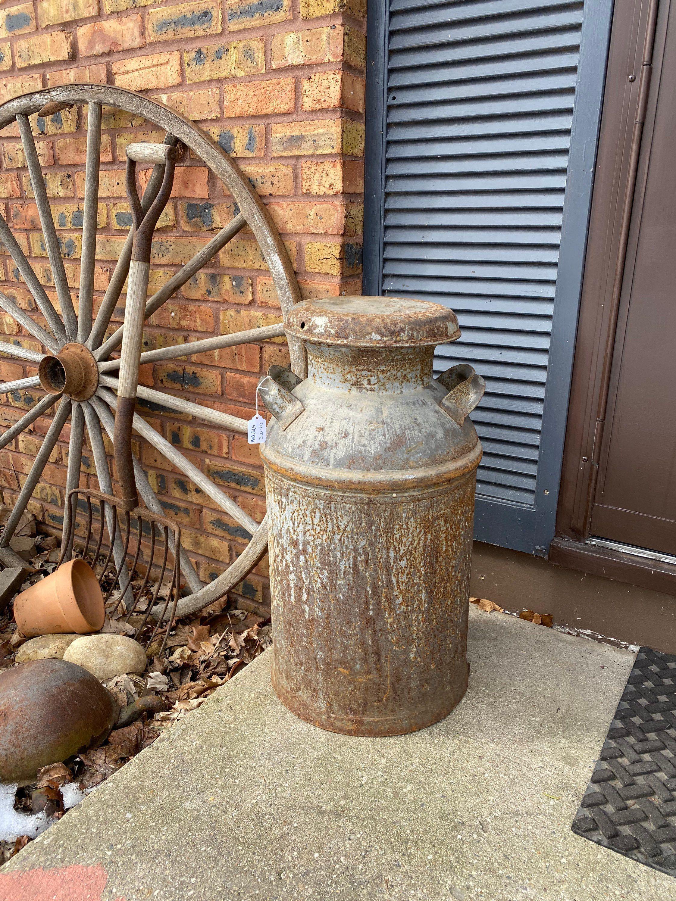 Farmhouse industrial decor vintage milk can antique