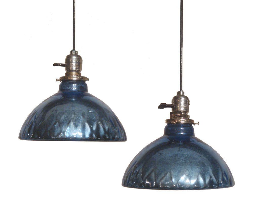 "Blue Mercury Glass"" Oil Lamp Shade Pendant Lights at ..."